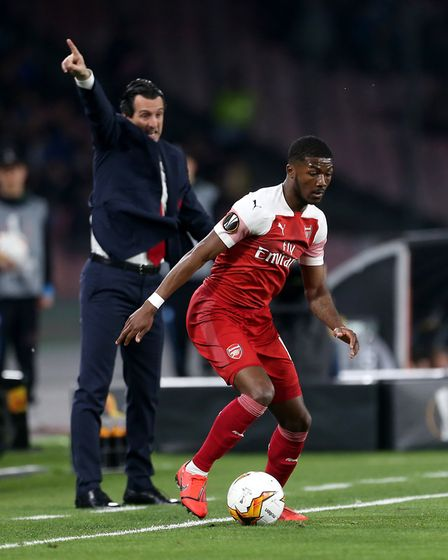Arsenal's Ainsley Maitland-Niles during the UEFA Europa League quarter final second leg match at the