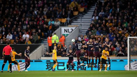 Wolverhampton Wanderers' Ruben Neves scores his side's first goal of the game during the Premier Lea