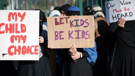 A protest against lessons about LGBT rights and relationships at Birmingham's Anderton Park Primary