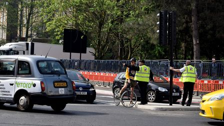 Highbury Corner 22.04.19. Traffic assistants stand at the new sets of lights to advise road users ab