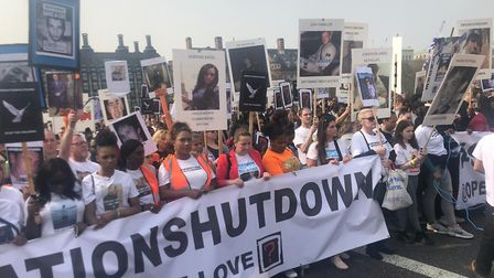 OperationShutdown campaigners blocked Westminster Bridge calling for action on knife crime