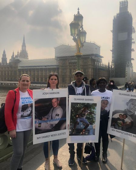 Tracey and Brooke Hanson with Quamari's father Paul Barnes on Westminster Bridge as part of the Oper