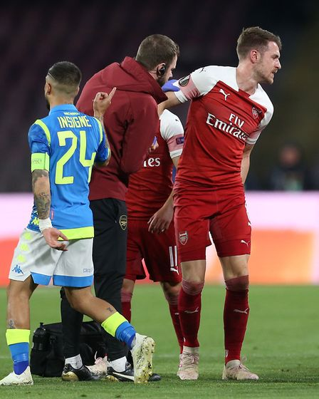 Arsenal's Aaron Ramsey after picking up an injury during the UEFA Europa League quarter final second