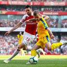 Arsenal's Carl Jenkinson (left) and Crystal Palace's Max Meyer battle for the ball (pic Bradley Coll