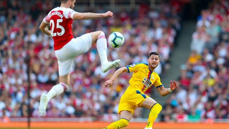 Arsenal's Carl Jenkinson and Crystal Palace's Joel Ward in action (pic Bradley Collyer/PA)
