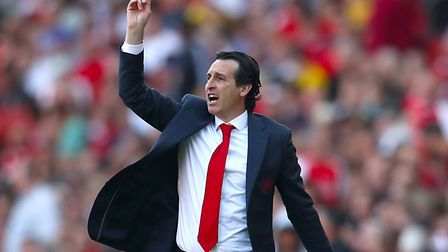 Arsenal manager Unai Emery gestures on the touchline during the Premier League match at The Emirates