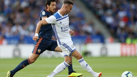 Leicester City's James Maddison and Valencia's Daniel Parejo during the pre-season friendly match at