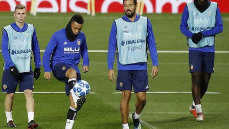 Valencia's Francis Coquelin during a training session at Old Trafford, Manchester. Picture: Martin R