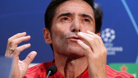 Valencia manager Marcelino Garcia Toral speaks during a press conference at Old Trafford, Mancheste
