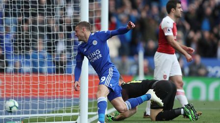 Leicester City's Jamie Vardy celebrates scoring their second goal during the Premier League match at