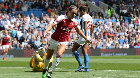 Arsenal's Katie McCabe celebrates scoring her sides second goal of the match during the FA Women's S