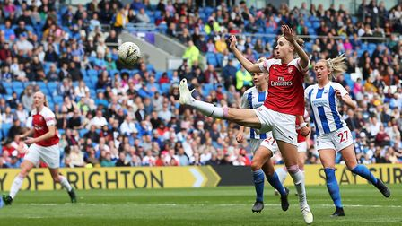 Arsenal's Vivianne Miedema attempts to bring the ball under control during the FA Women's Super Leag