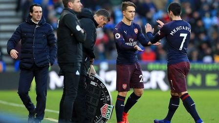 Arsenal's Denis Suarez is substituted on for Arsenal's Henrikh Mkhitaryan during the Premier League