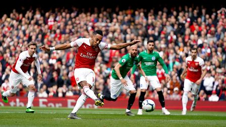 Arsenal's Pierre-Emerick Aubameyang scores his side's first goal of the game from the penalty spot d