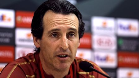 Arsenal manager Unai Emery during the press conference at the San Paolo Stadium, Naples. Picture: St
