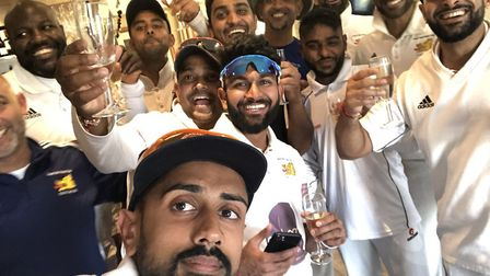 Crouch End players celebrate after winning promotion in 2018 (pic: Crouch End/Pratik Patel).