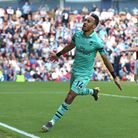 Arsenal's Pierre-Emerick Aubameyang celebrates scoring his side's first goal of the game during the