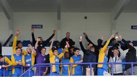 Highgate Albion celebrate winning the Barnet Sunday Football League Senior Cup at Wingate & Finchley
