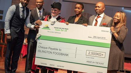 Mayor of Islington presented with cheque for Islington Food Bank. Picture: House on the Rock