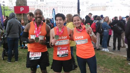 Rey Smart, Victor Tsui and Luca Hunter post marathon. Picture: Brent Centre for Young People