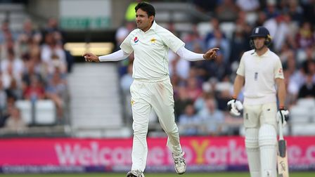 Pakistan's Mohammad Abbas celebrates taking a wicket (pic Nigel French/PA)