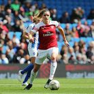 Arsenal's Dominique Bloodworth brings the ball across the park during the FA Women's Super League ma