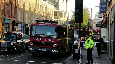 Fire crews still on the scene of the fire at the Scottish Stores in Caledonian Road. Picture: @TheDy