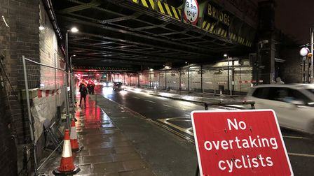 The fencing was installed in Stroud Green Road while lights are repaired. Picture: Sam Gelder