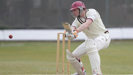 Evan Flowers in batting action for North Middlesex at Park Road (pic: George Phillipou/TGS Photo).