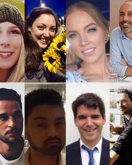 The victims, clockwise from top left: Christine Archibald, 30, Kirsty Boden; 28, Sara Zelenak, 21, S