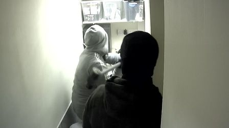 The burglars managed to steal the safe after smashing the room up.
