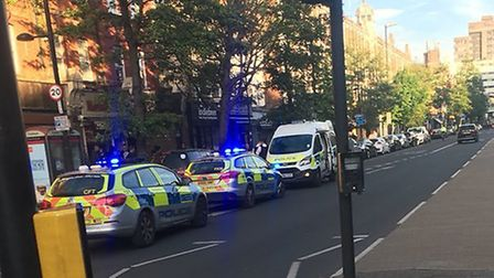 A woman was arrested in Holloway Road last night. Picture: Liam Coleman