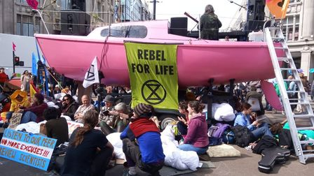 An Extinction Rebellion's climate change protest location in central London. Photo: ANNA MUNRO