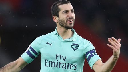 Arsenal's Henrikh Mkhitaryan celebrates scoring his side's second goal of the game during the Premie