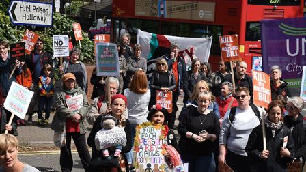 Protestors marched to Holloway Prison site to demand council housing and community facilities. Pictu