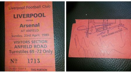 Kelvin Meadows' ticket from Anfield '89, signed by Michael Thomas and Tony Adams. Picture: Kelvin Me