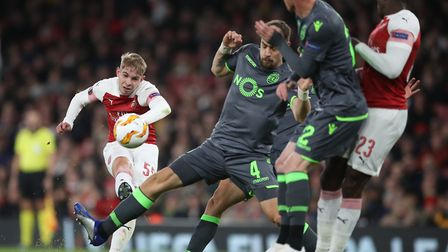 Arsenal's Emile Smith Rowe shoots at goal. Picture: PA