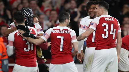 Arsenal's Pierre-Emerick Aubameyang celebrates scoring his side's third goal of the game by putting