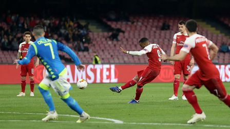 Arsenal's Alexandre Lacazette scores his side's first goal of the game during the UEFA Europa League