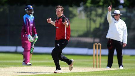 Luke Hollman of North Middlesex celebrates taking a wicket against Hampstead (pic: George Phillipou/
