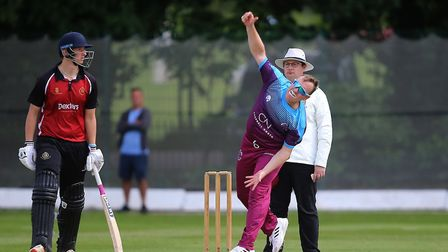 Ben Frazer in bowling action for Hampstead against North Middlesex (pic: George Phillipou/TGS Photo)