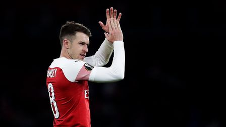 Arsenal's Aaron Ramsey applauds the fans after the final whistle. Picture: Adam Davy/PA
