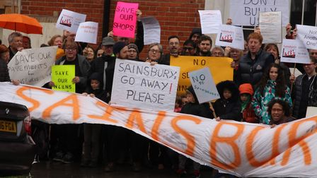 Protesters outside the old Highbury Vale Police Station, in Blackstock Road earlier this year after