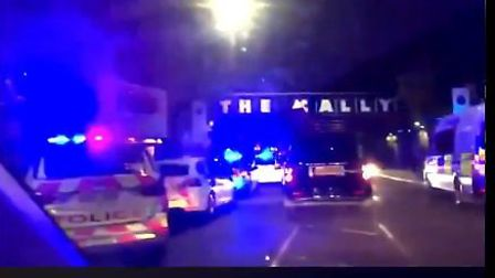 Police were called to Caledonian Road after a group of men were seen there with knives. Picture: @99