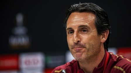 Handout photo provided by UEFA. Arsenal manager Unai Emery during a press conference at The Olympic