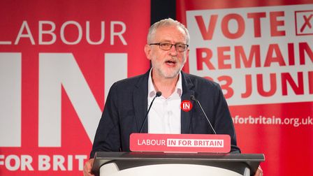 Labour Leader Jeremy Corbyn speaks at a 'Labour In' event during the EU referendum campaign. Photogr