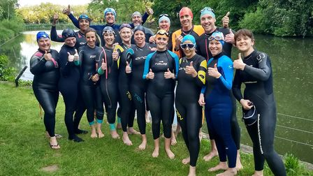 One of the Kensal Rise Triathlon teams practicing in the Hampstead Ponds Picture: Giles Deards