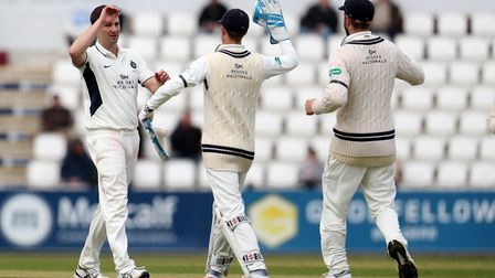 Tim Murtagh celebrates a wicket for Middlesex