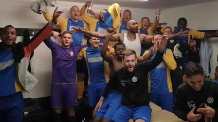 Highgate Albion players celebrate after winning the Barnet Sunday Football League Premier Division (