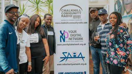 The Chalkhill Community Radio crew celebrate the station's first birthday. Picture: Brunel Johnson